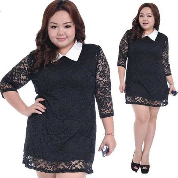 Kiểu đầm ren màu đen cũng rất phù hợp với người béo